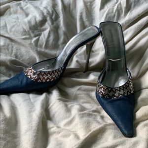 Gianmarco Lorenzi Embellished Denim Heels